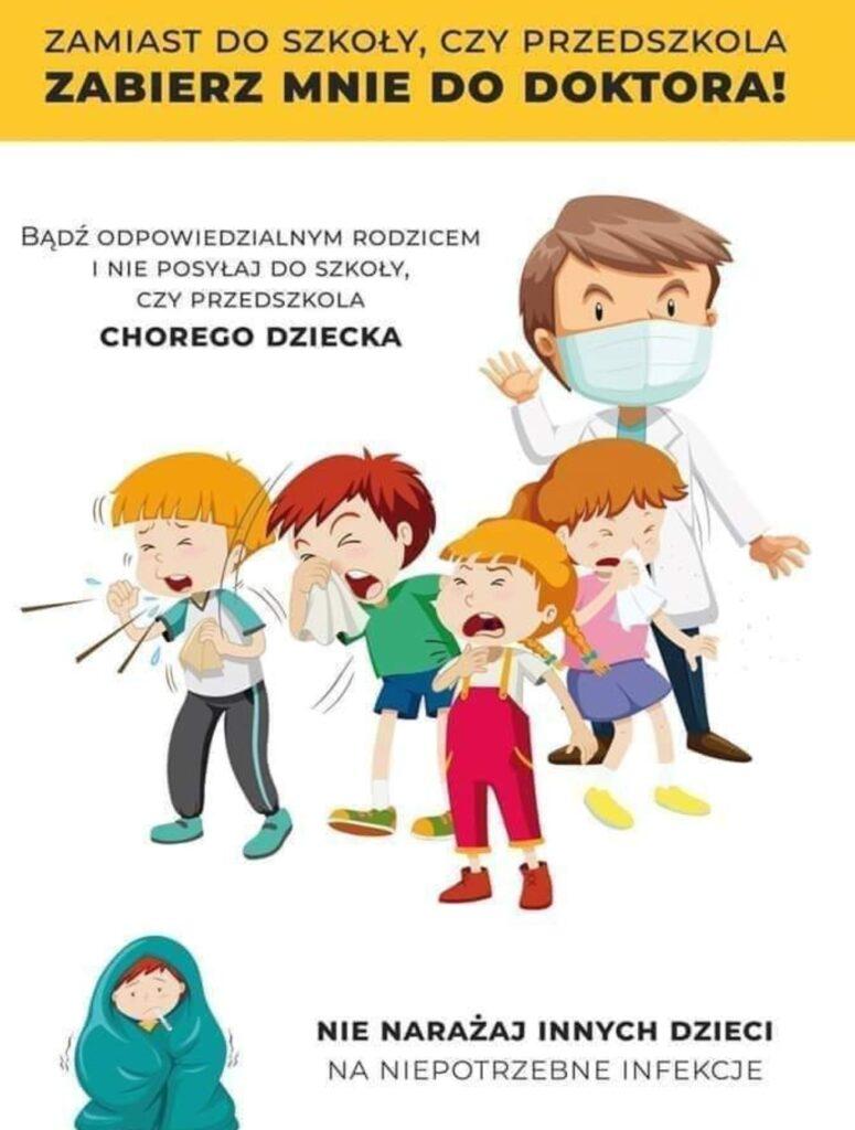 plakat RODZICU nie posylal chorego dziecka